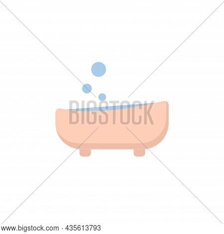 Bath Isolated Illustration. Bath Flat Icon On White Background. Bath Clipart.