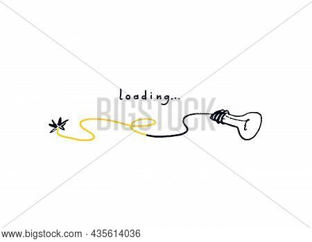 Light Bulb With Wire Loading Bar. Doodle Download Fifty Percent Progress Bar. Color Concept Loading