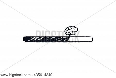 Doodle Brain Loading Bar. Hand Drawn Progress Bar With Human Brain Loading Status. Black On White Sh