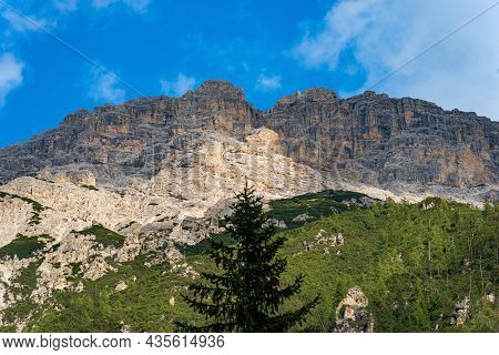 Mountain Peak Of Rautkofel Or Monte Rudo, Mountain Range Of The Rondoi-baranci, Seen From The Landro