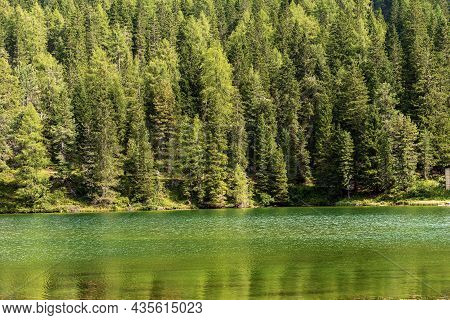 Lago Di Misurina (lake Misurina) 1754 M., Small Beautiful Alpine Lake And Pine Woodland, Sesto Dolom