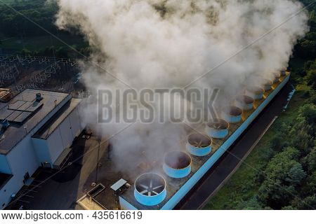 Pipes Of Thermal Power Plant. Smoking Chimney Of Thermal Power Plant.