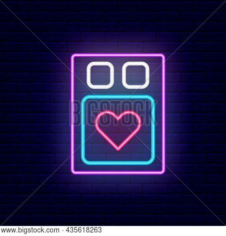 Bed Linen For Newlyweds Neon Icon. Sex Shop Textile. Night Bright Signboard. Outer Glowing Effect Ba