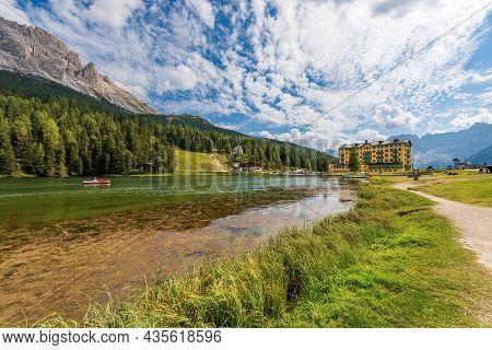 Lake Misurina (lago Di Misurina, 1754 M) And The Mountain Range Of Cadini Di Misurina And Sorapiss,