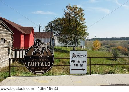 JAMESTOWN, NORTH DAKOTA - 3 OCT 2021: Sign for the National Buffalo Museum in Frontier Town.