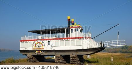 BISMARCK, NORTH DAKOTA - 3 OCT 2021: Lewis and Clark Riverboat in dry dock for the Winter, offers cruises on the Missouri River.
