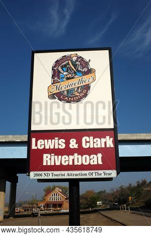BISMARCK, NORTH DAKOTA - 3 OCT 2021: Sign for the Lewis and Clark Riverboat and Meriwethers Restaurant and Lounge.