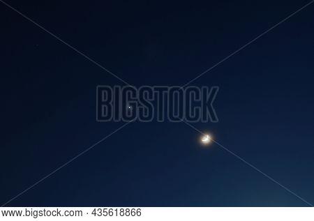 Half Moon And Venus Arranging On Sky In Twilight Dusk