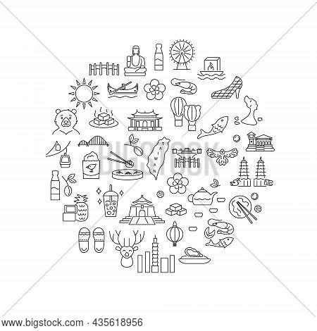 Culture Of Taiwan Circle Layout With Outline Icons. Taiwanese Items. Elements For Travel Agent And G