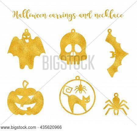 Set Halloween Earrings Jewellery Laser Cut. Ghost Earrings, Pumpkin Earrings, Vector Templates For C