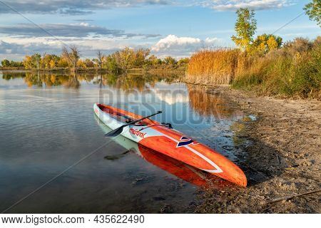 Fort Collins, CO, USA - October 7, 2021: Flatwater racing stand up paddleboard (17.6' Mistral Stealth) with a paddle on a lake shore in a fall scenery of nortehrn Colorado.