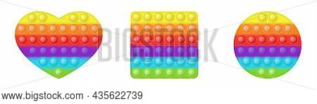 Set Of Forms Pop It A Fashionable Silicon Rainbow Toys For Fidgets. Addictive Anti-stress Toy In Bri