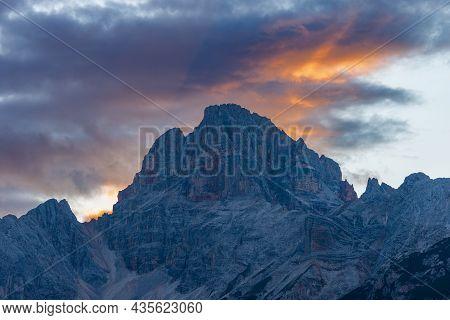 Mountain Peak Of Croda Rossa D'ampezzo Or Hohe Gaisl (3146 M.) At Sunset, Dolomites, Unesco World He
