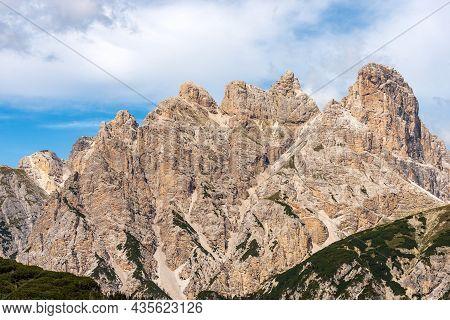 Mountain Peak Of The Monte Rudo Or Rautkofel And Croda Dei Rondoi Or Schwalbenkofel Of The Mountain