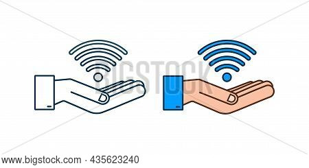 Free Wifi Zone Blue Sign In Hands Icon. Free Wifi Here Sign Concept. Vector Illustration.
