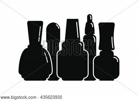 Five Cosmetic Container Nail Polish Gel Oil In Row. Female Makeup Product. Plastic Or Glass Bottle.