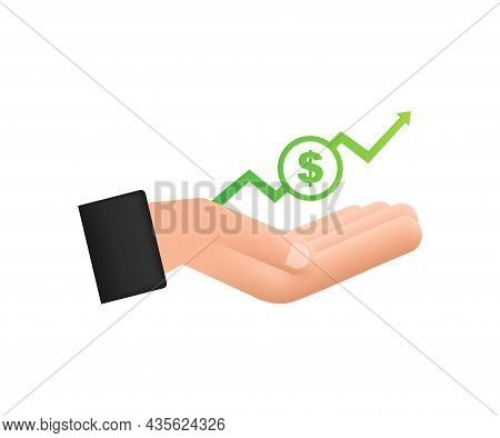 Profit Money Or Budget. Cash And Rising Graph Arrow Up In Hands. Capital Earnings, Benefit. Vector S