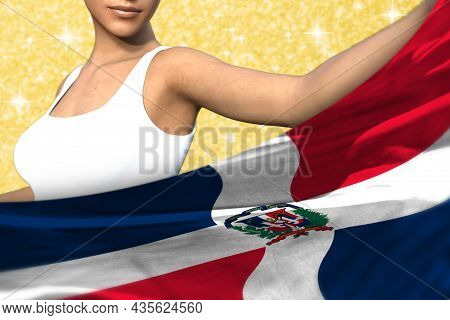 Cute Woman Is Holding Dominican Republic Flag In Front Of Her On The Orange Shining Sparks Backgroun