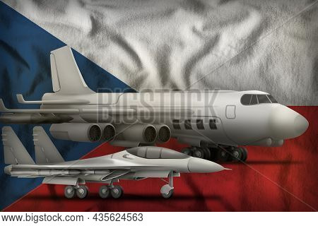 Air Forces On The Czechia Flag Background. Czechia Air Forces Concept. 3d Illustration