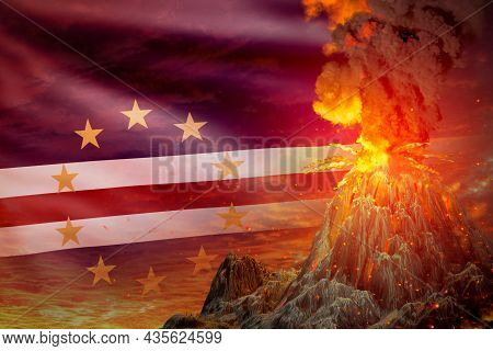 High Volcano Blast Eruption At Night With Explosion On Cabo Verde Flag Background, Problems Of Disas