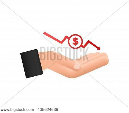 Money Loss Sign In Hands. Cash With Down Arrow Stocks Graph, Concept Of Financial Crisis, Market Fal