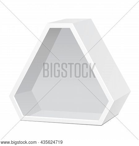 Mockup White Cardboard Hexagon Triangle Carry Box Bag Packaging For Food, Gift Or Other Products. On