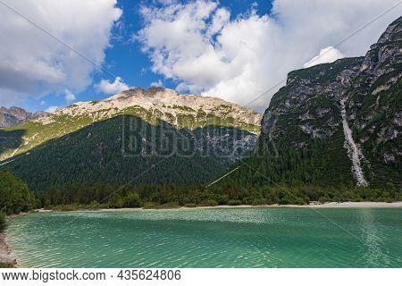Lake Landro (lago Di Landro Or Durrensee) And Mountain Peak Of Rautkofel Or Monte Rudo And Monte Pia
