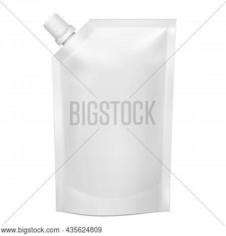 Mockup White Blank Doy Pack, Doypack Foil Food Or Drink Bag Packaging With Corner Spout Lid. Illustr