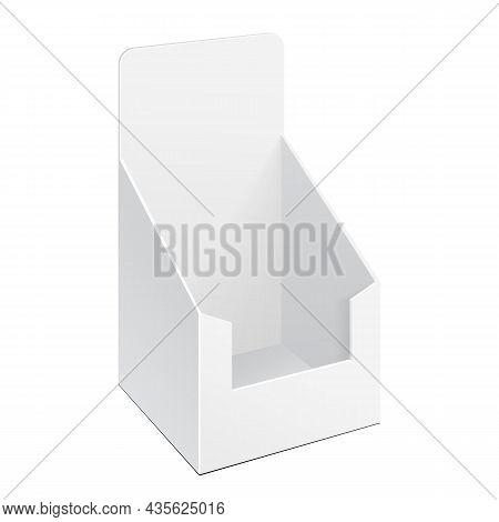 Mockup Pos Poi Cardboard Blank Empty Display Show Box Holder For Advertising Fliers, Leaflets, Produ