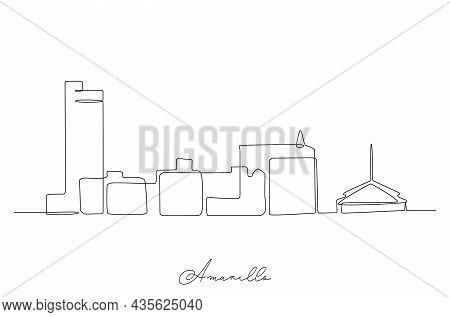 Single Line Drawing Amarillo City Skyline, Texas. World Beauty Town Landscape Art. Best Holiday Dest