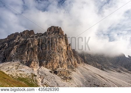 Mountain Peaks Of The Sesto Dolomites. South Rock Face Of Three Peaks Of Lavaredo (drei Zinnen Or Tr