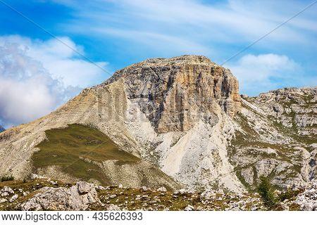Small Peak Of The Sesto Or Sexten Dolomites, Near The Tre Cime Di Lavaredo Or Drei Zinnen. Dolomiti