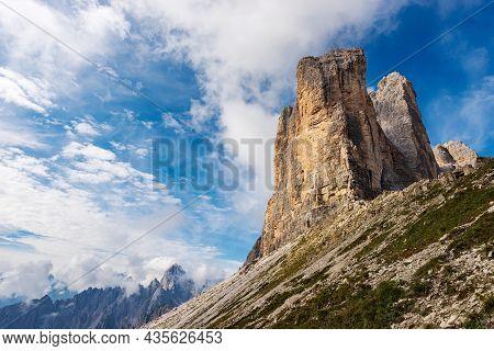 Mountain Range Of Cadini Di Misurina And The Three Peaks Of Lavaredo (drei Zinnen Or Tre Cime Di Lav