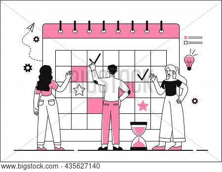 Group Of People Put Marks On Calendar. Planning Concept, Goal Setting, Deadline. Entrepreneurship An