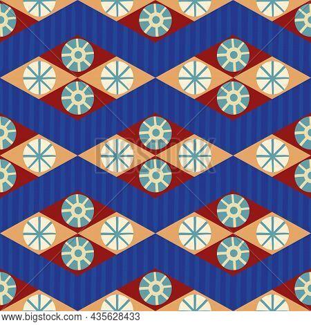 Abstract Stylized Sun And Star Diamond Shape Seamless Vector Pattern Background. Azulejo Style Backd