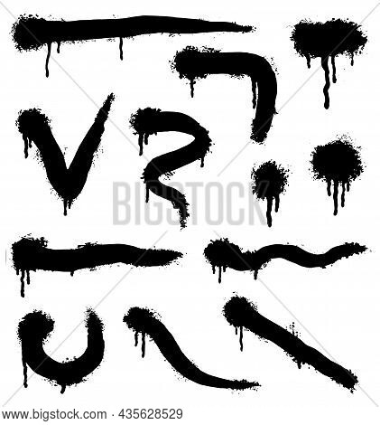 Vector Spray Paint Shapes In Black. Graffiti Stencil Template Or Paint Streaks. Abstract Lines And D