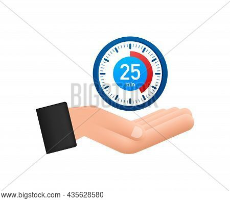 The 25 Minutes, Stopwatch With Hands Icon. Stopwatch Icon In Flat Style, Timer On White Background.