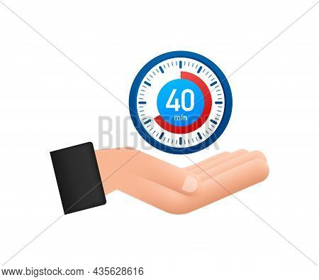 The 40 Minutes, Stopwatch Vector Hand Icon. Stopwatch Icon In Flat Style, Timer On White Background.