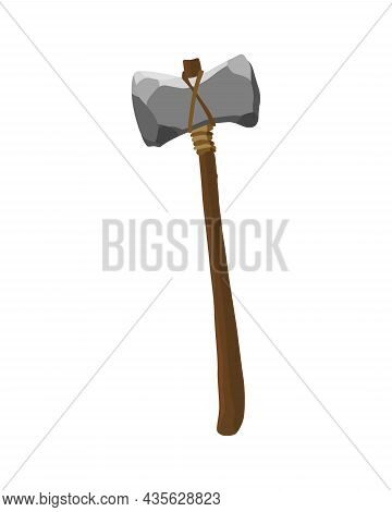 Ancient Age Stone Tool For Hunting Or Work. Cartoon Hammer, Prehistoric Caveman Instrument. Vector I