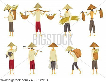 Collection Of Asian Farmers In Straw Conical Hata. Asia Rural Culture. Chinese Farmers Carrying Yiel