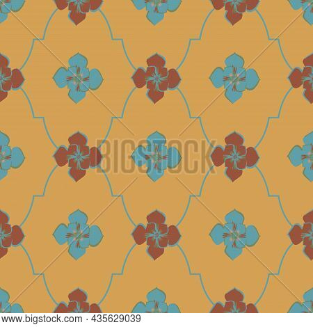 Medieval Rose Roman Ogee Vector Pattern Background. Azulejo Tile Style Backdrop Of Hand Drawn Flower