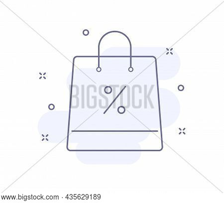 Bag With Percent Outline Vector Illustration Isolated On White. Bag With Percent Purple Line Icon Wi