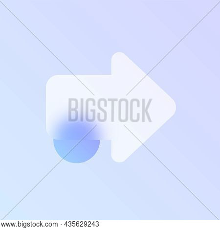 Arrow Glass Morphism Trendy Style Icon. Right Arrow Color Vector Icon With Blur, Transparent Glass A