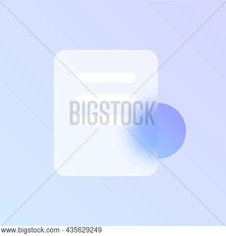 Document Glass Morphism Trendy Style Icon. Document File Color Vector Icon With Blur, Transparent Gl