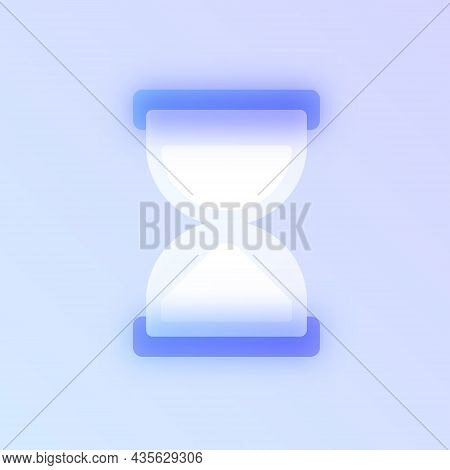 Hourglass Glass Morphism Trendy Style Icon. Sandglass Color Vector Icon With Blur, Transparent Glass