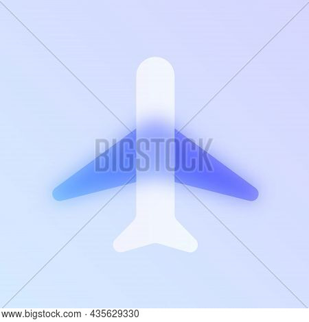 Airplane Glass Morphism Trendy Style Icon. Airplane Color Vector Icon With Blur, Transparent Glass A