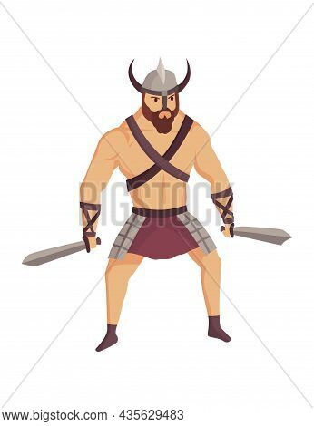 Ancient Rome Gladiator. Vector Roman Warrior Character In Armor With Swords. Flat Illustration In Ca
