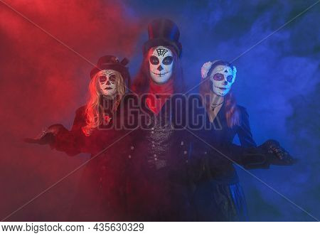 Beautiful Group Of Three People With Creepy Halloween Make Up Dead Day Calavera Style