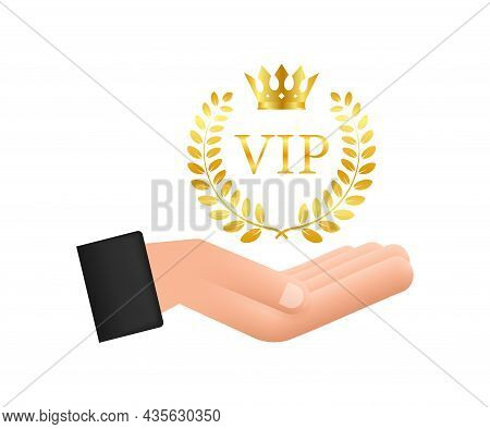 Golden Symbol Of Exclusivity, The Label Vip With Glitter In Hands. Very Important Person - Vip Icon