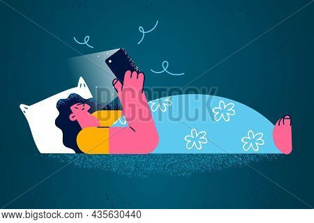 Addiction To Phone And Internet Concept. Young Smiling Woman Cartoon Character Lying In Bed At Night